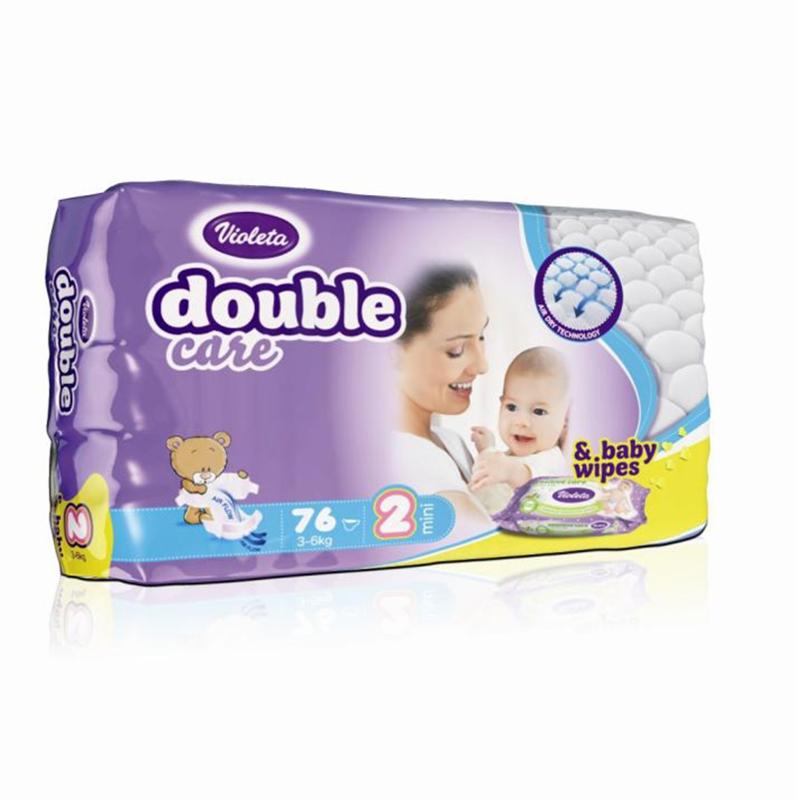 Immagine di Violeta® Pannolini AirCare 2 Mini (3-6kg) Jumbo 76+Salviettine umidificate Baby in omaggio