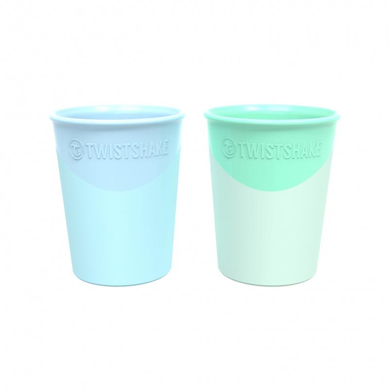 Twistshake® 2x Kozarček Pastel Blue&Green 170ml (6+m)