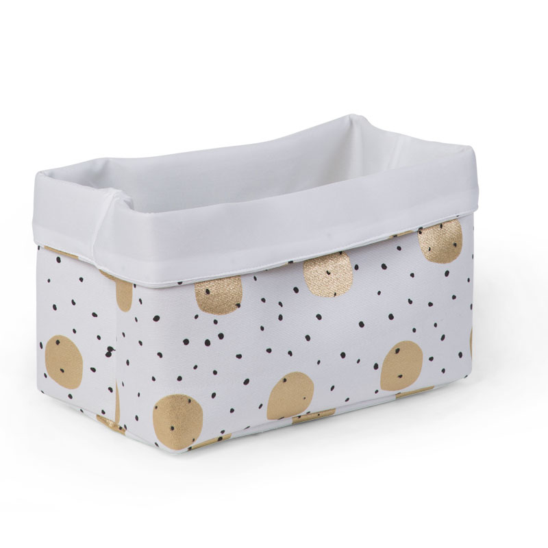Picture of Childhome® Small Canvas Box - White Gold Dots