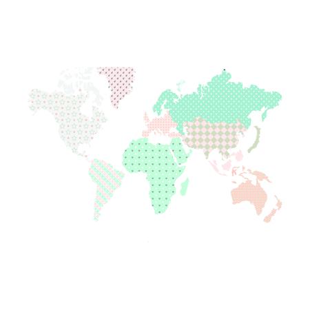 Dekornik® Adesivo parete Mappa del Modno Pastello - L
