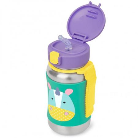 Slika Skip Hop® Steklenička iz nerjavečega jekla s slamico Samorog