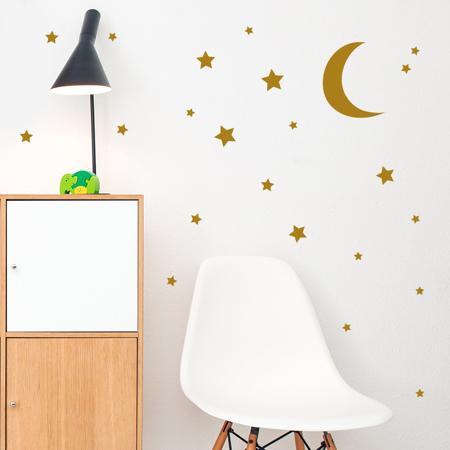 Immagine di Pick Art Design® Adesivo da parete Luna e Stelle Gold