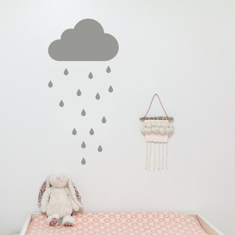 Immagine di Pick Art Design® Adesivo da parete Nuvola grigia e Gocce di pioggia