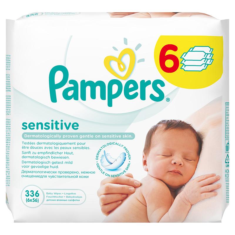 Pampers® Otroški vlažilni robčki Sensitive Promo pack 6x56 kosov