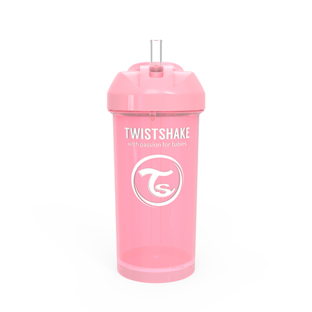 Immagine di Twistshake® Borraccia con cannuccia 360ml (12+ m) - Rosa Pastello