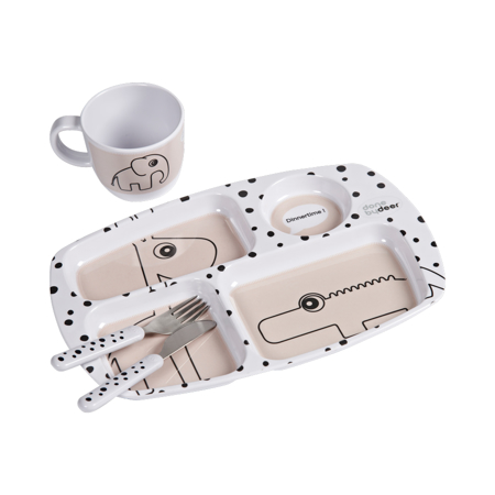 Picture of Done By Deer® Toddler Dinner Set Happy Dots Powder
