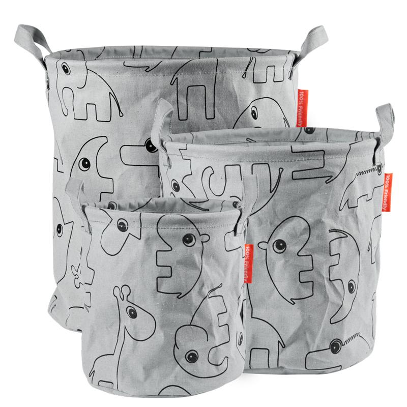 Immagine di Done by Deer® Set di contenitori in tessuto Contour Grey