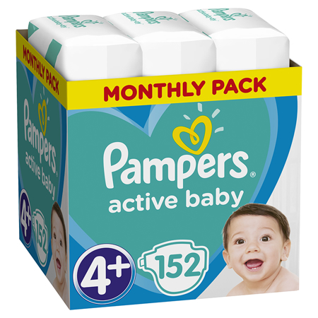 Immagine di Pampers® Pannolini Active Baby Dry taglia 4+ (10-15 kg) 152 pz.