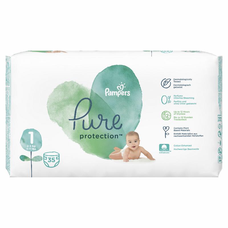 Immagine di Pampers® Pannolini Pure Protection taglia 1 (2-5 kg) 35 pezzi