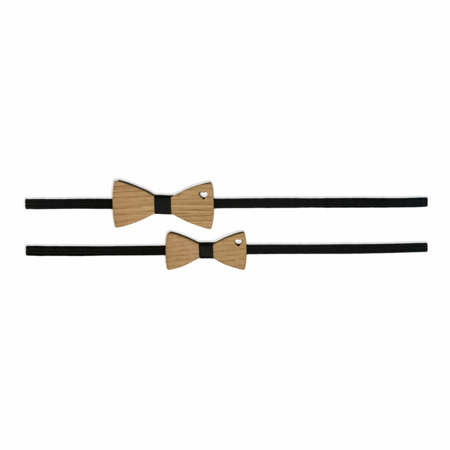 Picture of Set Of Wooden Bowties Hearts Black