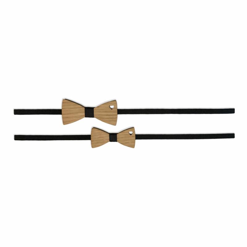 Immagine di Set Fascia elastica per capelli con Farfalla di legno Nero