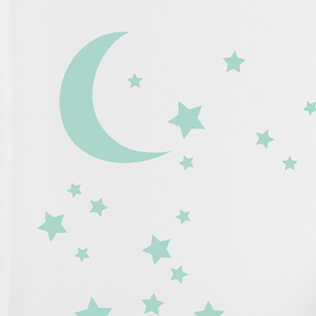 Picture of Pick Art Design® Wall Sticker Mint Moon&stars