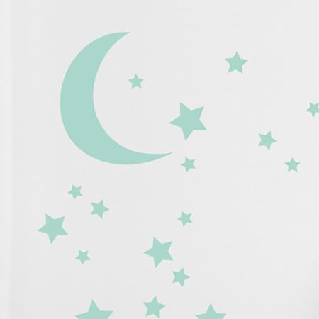 Pick Art Design® Adesivo da parete Luna e Stelle Mint