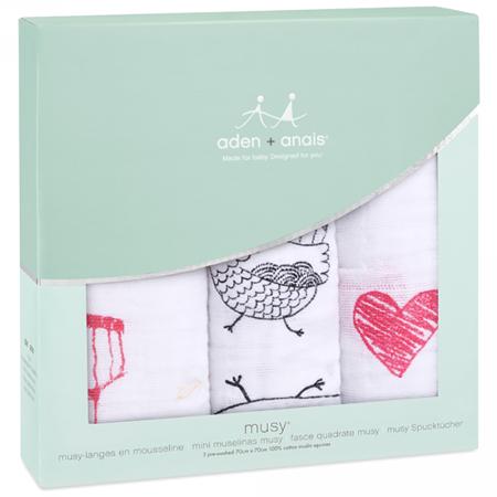 Aden+Anais® Set di 3 pannolini tetra Lovebird 70x70
