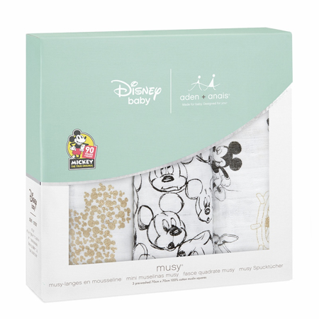 Aden+Anais® Set di 3 pannolini tetra Disney Mickey's 90th 70x70