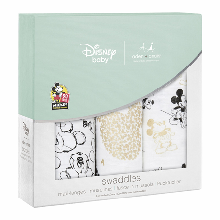 Immagine di Aden+Anais® Set di 3 teli in mussola Disney Mickey's 90th 120x120