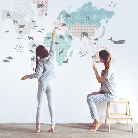 Immagine di Dekornik® Adesivo parete Mappa del Modno Pastello