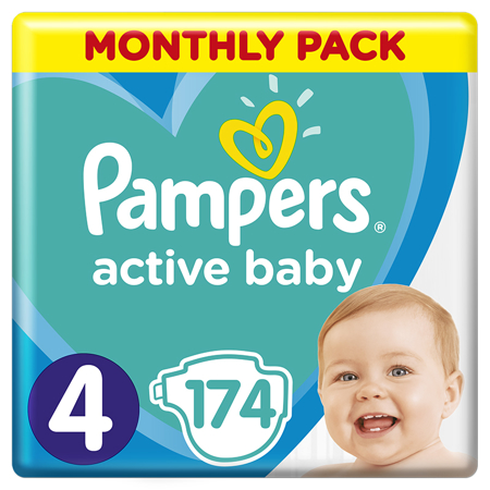 Pampers® Pannolini Active Baby Dry taglia 4 (9-14 kg) 174 pz.