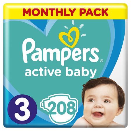 Pampers® Pannolini Active Baby Dry taglia 3 (6-10 kg) 208 pz.