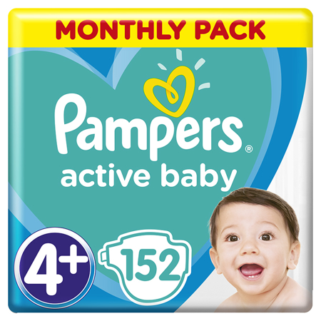 Pampers® Pannolini Active Baby Dry taglia 4+ (10-15 kg) 152 pz.