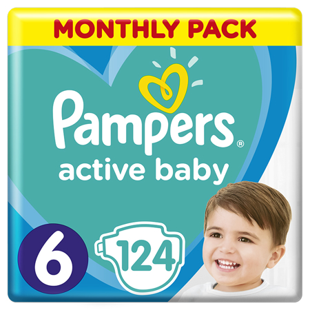 Pampers® Pannolini Active Baby Dry taglia 6 (15 kg +) 124 pz.
