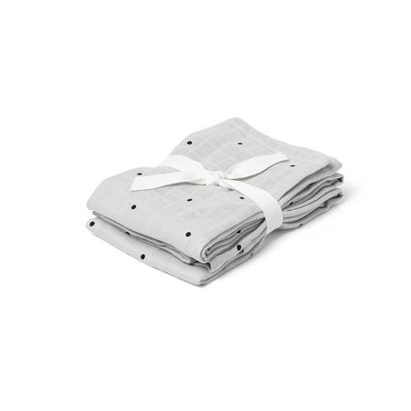 Immagine di Liewood® Set di 2 pannolini tetra Hannah Classic Dot Dumbo Grey 70x70
