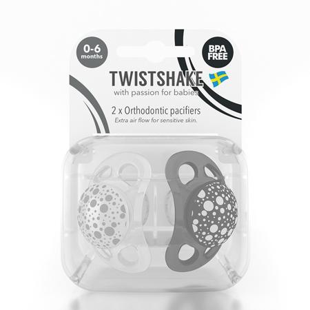 Twistshake® Due ciucci Black&White - 0-6 mesi