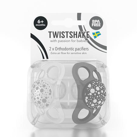 Twistshake® Due ciucci Black&White - 6+ mesi