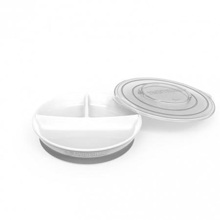Twistshake® Piatto a scomparti 210ml+2x90ml (6+m) - White