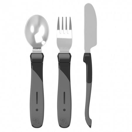 Twistshake® Set posate in acciaio inossidabile (12+m) - Black