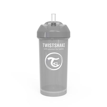 Twistshake® Borraccia con cannuccia 360ml (12+ m) - Grigio Pastello
