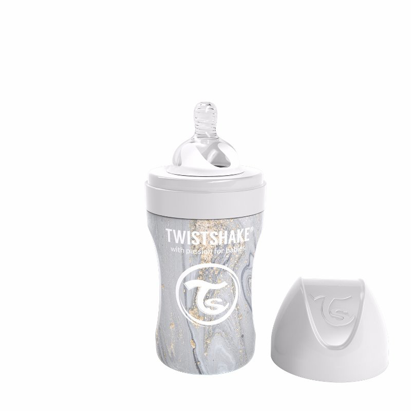Immagine di Twistshake® Biberon in acciaio inossidabile Anti-Colic 260ml Marble Grey