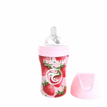 Slika Twistshake® Steklenička iz nerjavečega jekla Anti-Colic 260ml Strawberry