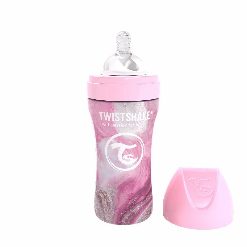 Immagine di Twistshake® Biberon in acciaio inossidabile Anti-Colic 330ml Marble Pink