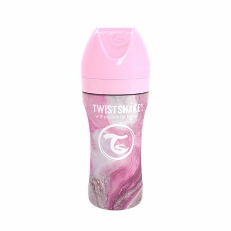 Slika Twistshake® Steklenička iz nerjavečega jekla Anti-Colic 330ml Marble Pink