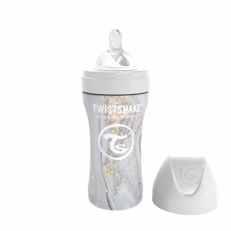 Immagine di Twistshake® Biberon in acciaio inossidabile Anti-Colic 330ml Marble Grey