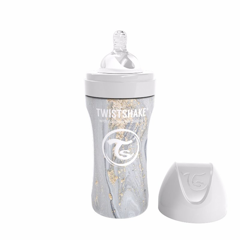Immagine di Twistshake® Biberon in acciaio inossidabile Anti-Colic 330ml Marble Grey
