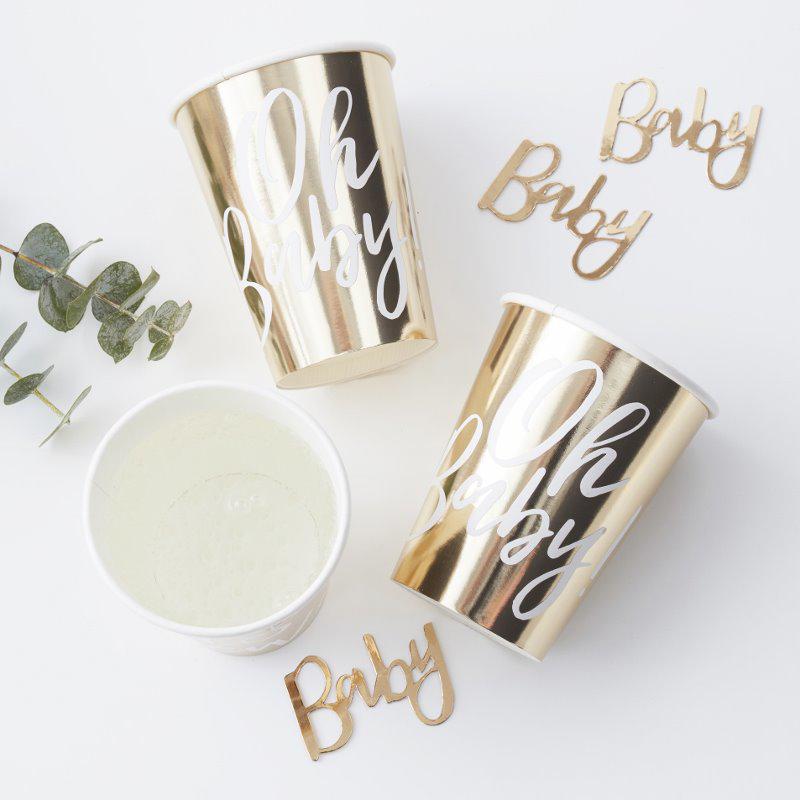 Immagine di Ginger Ray® Bicchieri di carta Gold Oh Baby! 8 pz.