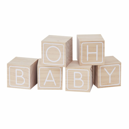 Ginger Ray® Cubi di legno Oh Baby!
