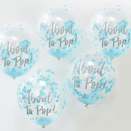 Immagine di Ginger Ray® Palloncini con coriandoli About To Pop Blue 5 pz.