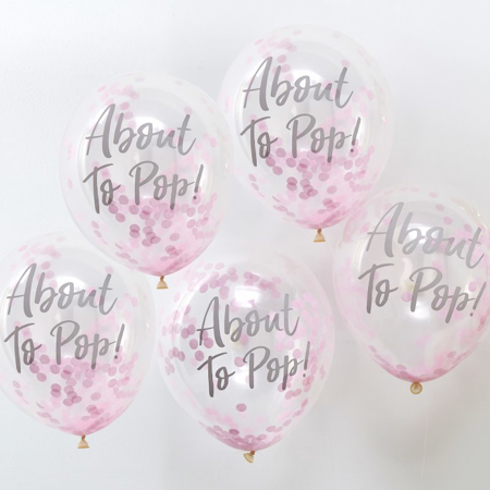 Immagine di Ginger Ray® Palloncini con coriandoli About To Pop Pink 5 pz.