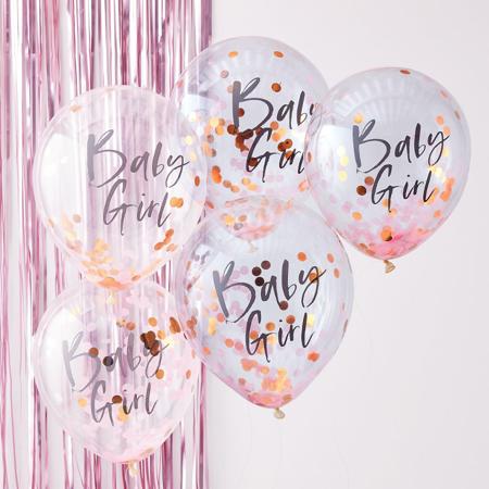 Immagine di Ginger Ray® Palloncini con corianoli Baby Girl Twinkle Twinkle 5 pz.