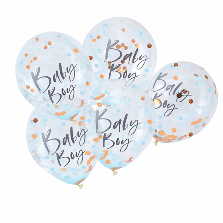 Ginger Ray® Palloncini con coriandoli Baby Boy Twinkle Twinkle 5 pz.