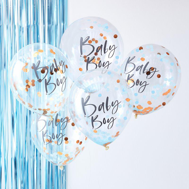 Immagine di Ginger Ray® Palloncini con coriandoli Baby Boy Twinkle Twinkle 5 pz.