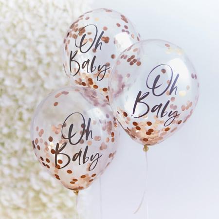Immagine di Ginger Ray® Palloncini con coriandoli Rose Gold Oh Baby! 5 pz.