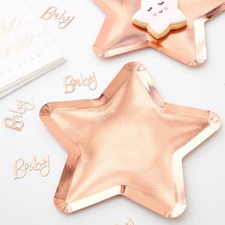 Immagine di Ginger Ray® Rose Gold piatti di carta Twinkle Twinkle 8 pz.