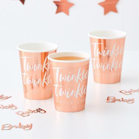 Immagine di Ginger Ray® Rose Gold bicchieri di carta Twinkle Twinkle 8 pz.