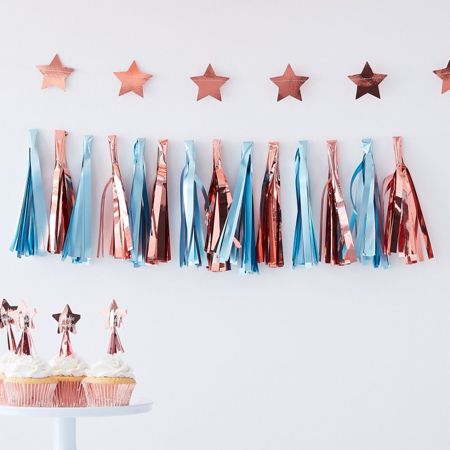 Picture of Ginger Ray® Matte Blue And Rose Gold Tassel Garland Twinkle Twinkle