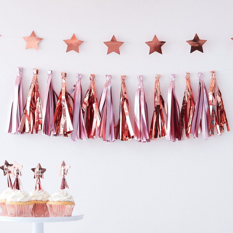 Immagine di Ginger Ray® Pom Pom Ghirlanda con Nappe Rose Gold/Pink