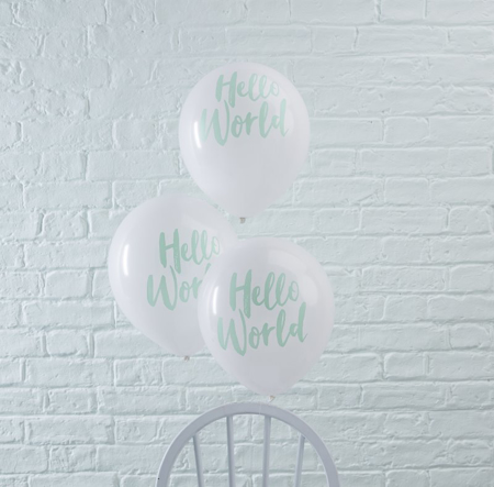 Immagine di Ginger Ray® Palloncini Hello World Mint 10 pz.